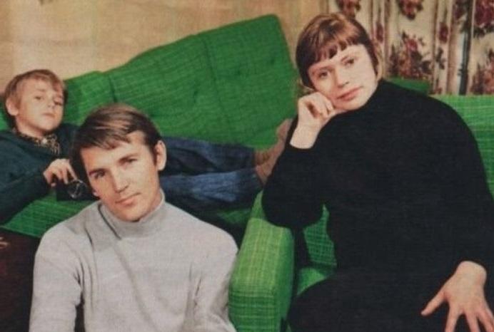 Станислав Любшин с женой и сыном